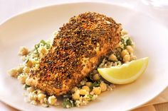 Moroccan flavours turn ordinary salmon into a masterpiece. Teamed with a wholesome burghul and chickpea salad, this salmon recipe is filling and delicious. Best Salmon Recipe, Salmon Recipes, Fish Recipes, Seafood Recipes, Dinner Recipes, Cooking Recipes, Cooking Tips, Moroccan Spices, Moroccan Dishes