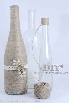 String Wine Bottle Vase | 10 DIY Flower Vases You Can Make At Home