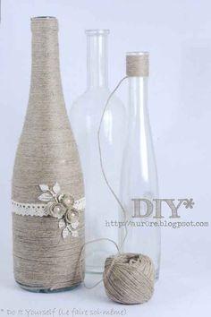 String Wine Bottle Vase   10 DIY Flower Vases You Can Make At Home