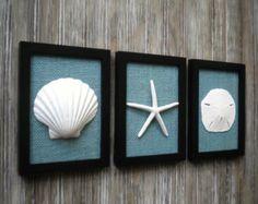 Beach House Wall Decor trio of coastal wall decor, cottage chic framed starfish wall art