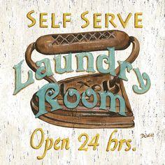 Self Serve Laundry Painting  - Self Serve Laundry Fine Art Print