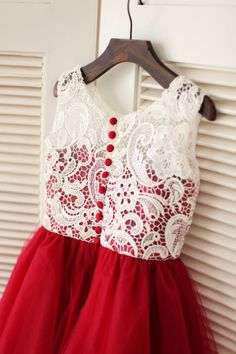 Red Tulle Ivory Lace Flower Girl Dress Children Toddler Dress for Wedding Junior Bridesmaid Dress by knothouses on Etsy https://www.etsy.com/listing/204537313/red-tulle-ivory-lace-flower-girl-dress