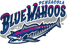 Pensacola Blue Wahoos Primary Logo (2012) - Blue Wahoo Fish, breaking free from his fishing line, under wordmark
