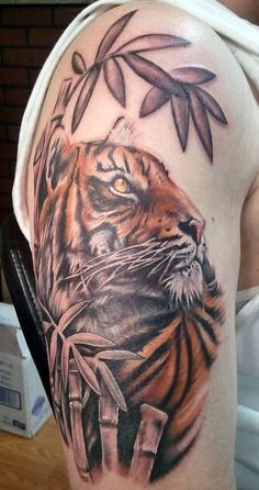 Tiger Tattoo by Sarah Miller #Tattoo #Tattoos #Ink #Tiger #SarahMiller http://tattoopics.org/tiger-tattoo-by-sarah-miller/