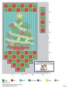 Christmas tree Plastic Canvas Tissue Boxes, Plastic Canvas Crafts, Plastic Canvas Patterns, Cross Stitching, Cross Stitch Embroidery, Christmas Valances, Canvas Curtains, Valance Patterns, Christmas Crafts To Make