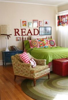 Love the use of red in this room. Especially the painted fence as a headboard