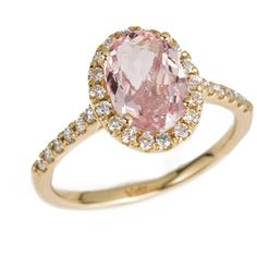 Anine Bing Morganite Ring With Diamond Halo featuring polyvore women's fashion jewelry rings gold handcrafted jewellery 14k ring handcrafted rings anine bing hand crafted jewelry