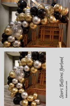 silver gold and black balloons garland for stairs with silver confetti balloons Prom Balloons, Bridal Shower Balloons, Confetti Balloons, Black Gold Silver Party, Black And Gold Balloons, Balloon Columns, Balloon Garland, Balloon Arch, 40th Birthday Decorations