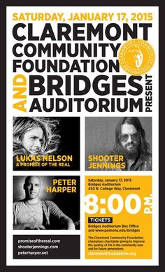 Great concert coming up in Claremont featuring Peter Harper, Lukas Nelson & Shooter Jennings.