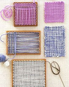 Weaving ideas:  Pattern Plan  Sweet Sachets  Patchwork Pillow  Purse Pouch  Tissue Box and Facecloth  Baby Booties & Play Block