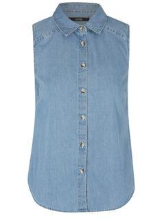 7dffefd9a3 good top Sleeveless Denim Shirts, Shirt Blouses, Asda, Denim Button Up,  Button