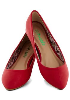 Reel Simple Flat in Red - Flat, Faux Leather, Red, Solid, Minimal, Casual, Work, Variation, Basic
