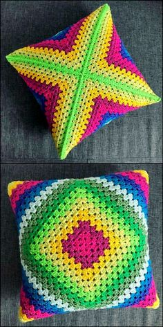Fascinating Crochet Pattern Ideas To Try - DIY Rustics colorful crochet cushion ideas Crochet Mandala, Crochet Motif, Crochet Designs, Crochet Yarn, Crochet Stitches, Crochet Cushion Cover, Crochet Cushions, Crochet Pillow, Crochet Crafts