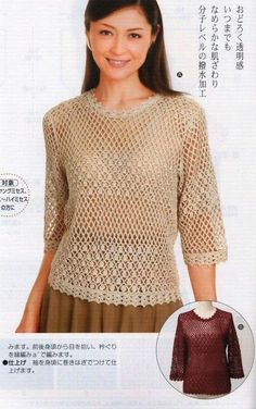 Marisabel crochet - Top with 3/4 sleeve. All the diagrams at source