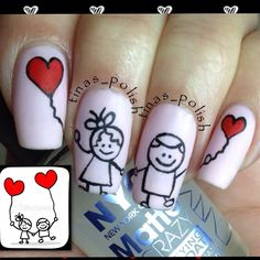 VALENTINE NAILS | See more nail designs at http://www.nailsss.com/nail-styles-2014/2/