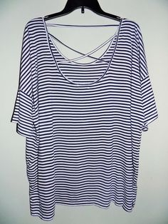 NWT Old Navy women's shirt XXL/TTG stripped black and white short sleeve #OldNavy #Blouse