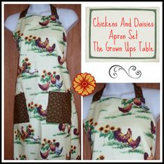Womens full apron  Chickens and Sunflowers by TheGrownUpsTable, $22.00