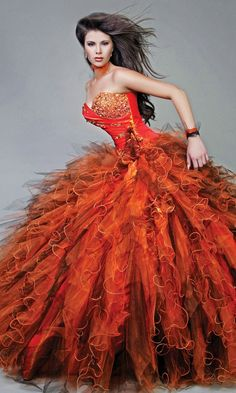 Sweetheart Ruffles Long Beaded Strapless Orange Quinceanera Dresses In Miami,Quinceanera Dresses-Wholesale cheap quinceanera Beautiful Gowns, Beautiful Outfits, Gorgeous Dress, Phoenix Costume, Robes Quinceanera, Bridal Dresses, Prom Dresses, Ugly Dresses, Wedding Dress
