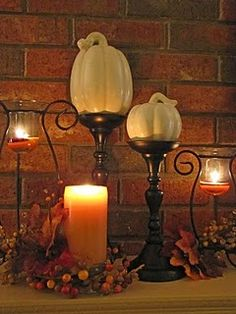 autumn decorations Fall Home Decor, Autumn Home, Happy Fall Y'all, Autumn Decorations, Thanksgiving Decorations, Thanksgiving Ideas, Seasonal Decor, Autumn Mantel, Candle Stands