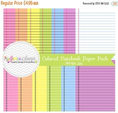 80% OFF- INSTANT DOWNLOAD  colorful printable notebook digital paper - printable notebook paper - doodle background - commercial use - teac JessicaSawyerDesign 0.99 USD
