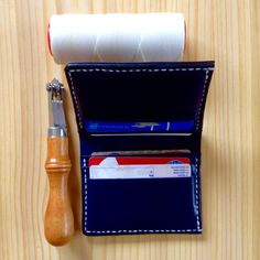 leather wallet handmade. Bull skin from Spain.