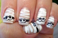 Nail Art - Mummies...fun for halloween.