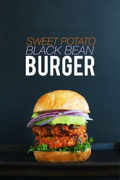 AMAZING 10-INGREDIENT SWEET POTATO BLACK BEAN BURGER! Tender, flavorful, hearty, SO delicious #minimalistbaker
