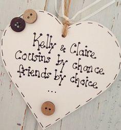 Personalised Heart Plaque Cousin Sister Friend Mum Nan Auntie Gift Keepsake