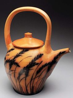 (Kyle Carpenter Salt Fired Teapot at MudFire Gallery). There's something about salt fired ceramics that really intrigues me...
