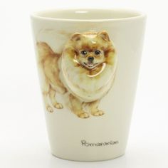 http://www.muddymood.com  Original hand sculpt and hand paint   Pomeranian Dog Ceramic Mug Handmade.