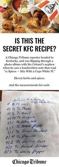 Is this the secret KFC recipe? One of our reporters stumbled upon this note in one of the Colonel's family photo albums.