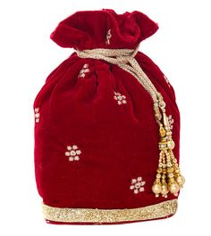 Red Velvet Embellished Bag #indianroots #accessories #bag #potlibag #velvet #embellished #occasionwear #eveningwear
