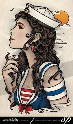 Sailor Girl Tattoo Flash