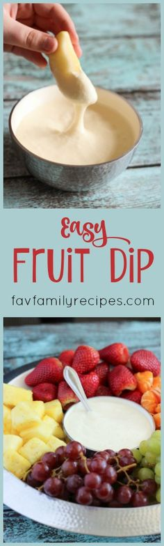 This Easy Fruit Dip has only 4 ingredients and takes just a few minutes to whip together. It is smooth and creamy with a hint of citrus. It goes well with all kinds of fresh fruit.