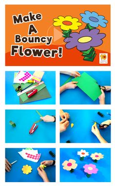 Bouncy Flower Fun Activity for Kids at Home - Bouncy Flower Flower Activities For Kids, Holiday Activities, Games For Kids, Art For Kids, Easy Arts And Crafts, Paper Crafts For Kids, Crafts To Do, Planting For Kids, Bookmarks Kids