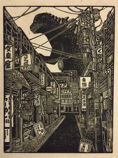 Woodcut Emporium aka Brian Reedy (US) - Godzilla block print