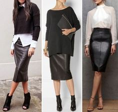 Nadire Atas on Leather Skirts - Mode - Best Combin Mode Outfits, Stylish Outfits, Fall Outfits, Fashion Outfits, Womens Fashion, Petite Fashion, Fashion Clothes, Work Fashion, Fashion Looks