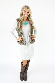 Lime Lush Boutique - Grey Long Sleeve Banded Waist Dress with Self Tie , $53.99 (http://www.limelush.com/grey-long-sleeve-banded-waist-dress-with-self-tie/)