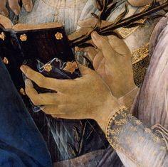 Sandro Botticelli - Madonna Raczynski, dettaglio - 1477 circa - tempera su tavola, tondo, diametro 135 cm - Berlino, Gemäldegalerie