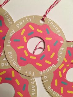 SHOP UPDATE: Please read the shop announcement regarding shipping prior to ordering. These donut party gift tags are the perfect way to thank your guests for making your party the sweetest. Each tag measures approximately 3 x 3 inches. As always, please message me if you have any