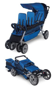 LX3™ Three Child Tandem Stroller - From your smallest to your tallest, stroll them all! The LX3™ is the only stroller of its kind rated up to 50lbs per child (150 lbs total). Includes plenty of headroom and large seating areas. The tandem design makes it easy to stroll through doorways. The largest wheels in the industry provide the ultimate in maneuverability. Folds easily for storage. Innovative SafeBrake™ system automatically engages when caregiver is separated from stroller.