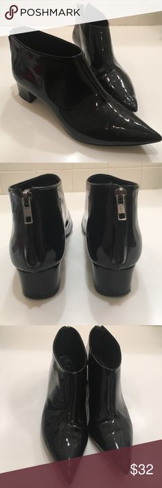 Topshop Booties Black verniz style booties. Size 40 Topshop Shoes Ankle Boots & Booties