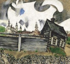Marc Chagall  in Magisch-Realistisch Vitebsk Art of Chagall on the Cross has as subject Marc Chagall himself, the holocaust, the jews, Jesus Christ, the bible, judaism, forgiveness, resurrection The Grey House painted 1917 in Vitebsk online thuis