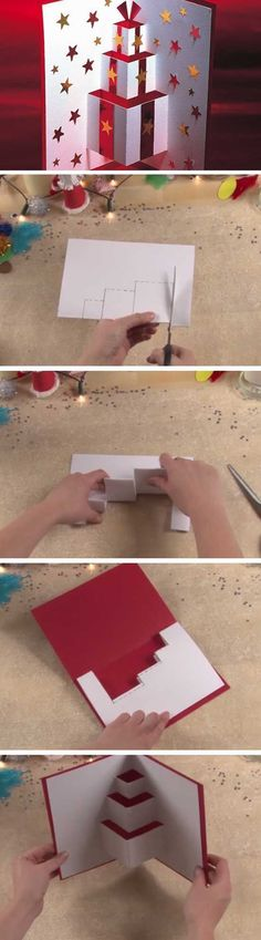 "Pop-up-Karte ""Geschenke"" – Bastelideen Kinder Carte pop-up ""Cadeaux"" – Diy Christmas Cards, Noel Christmas, Xmas Cards, Diy Cards, Handmade Christmas, Holiday Crafts, Origami Christmas, Magical Christmas, Kids Crafts"