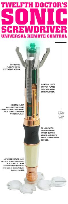 The Twelfth Doctor's Sonic Screwdriver Remote Control not only looks and feels like the hero prop, but works just like a Sonic Screwdriver should. Flick it open and the clasps extend with a satisfying clunk; press the grip mounted button for instant light and sound action or use the Any-TV-Off function just for fun. The Twelfth Doctor's Sonic Screwdriver is a fully functioning gesture-based remote control that, being made from die cast metal, has the weight of the Whoniverse behind it.