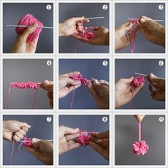 Crochet a pompom - great embellishment for a scarf. I'm always leery of putting real pompoms on anything washable because the pompoms will fall apart. This is a great alternative.