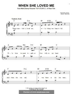 When She Loved Me (from Toy Story by R. Newman on MusicaNeo Clarinet Sheet Music, Piano Sheet Music, Music Sheets, Beginner Piano Lessons, Music Lessons, Uke Songs, Piano Songs, Piano Teaching, Teaching Career