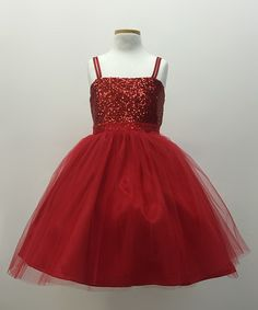 Look what I found on #zulily! Red Sequin Overlay Dress - Toddler & Girls by Petite Adele #zulilyfinds
