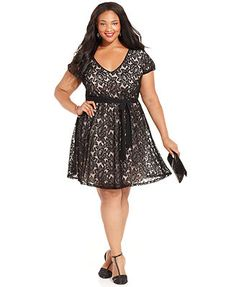 f1e21c15ea066 Love Squared Plus Size Short-Sleeve Lace A-Line Dress Plus Size Party  Dresses