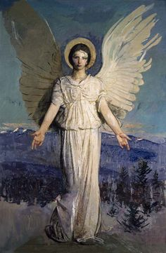 Monadnock Angel by Abbott Handerson Thayer, Addison Gallery of American Art, Andover, MA. I have to see this. My favorite, Noon, is privately owned. Dear Private Art Collector with Extraordinary Taste, I can come to you. #MrBowerbird